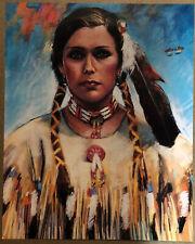 Original Vintage Poster Native American Indian Woman Shields 1970s Portrait Art