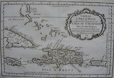 CARTE DE L'ISLE D'HAYTI , ISLE  ST DOMINGUE, BELLIN , 1754, HAITI JAMAIQUE CUBA
