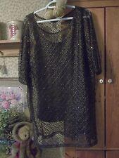 Catherine's Black Tunic & Camisole-Sequins-Slit Size14/16 Black NWT Retail $78