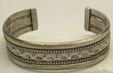 Navajo Tahe Sterling Silver Cuff Bracelet Braided Accent 35.9g