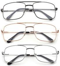 Aviator Reading Glasses Classic Square Retro Metal Frame Spring Hinge Reader