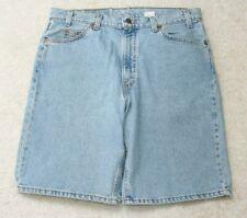 """Levis 550 Denim Jeans Shorts Blue Solid Large 36"""" X 11"""" Flat Front Man's Men's"""