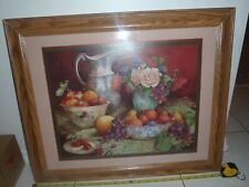 New listing Fruits & Flowers Wall Picture w/Wood Frame