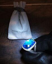 $2200 David Yurman 925 SS 20X15 mm Hampton Blue Topaz Diamond Albion Ring S 6.75