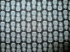 PINEAPPLES PINEAPPLE REALISTIC TROPICAL BLACK WHITE COTTON FABRIC FQ