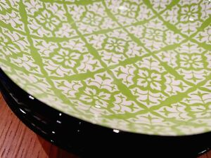 Moroccan Design Dining Bowls 21cm Lime Green and White With Black Rim | Set of 4