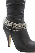 Women Boot Chain Bracelet Western Shoe Charm Fashion Jewelry Silver Multi Strand