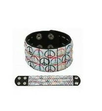 Mens Boys 3 Row Peace Sign Pyramid Studded Wristband Black - Emo Metal Gothic