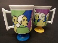 Arnart 5th Ave Mod Barbie Style Les Girls Vintage 60's  Mugs Cups Lot of 2