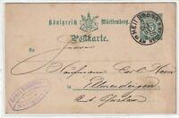 Postkarte - GANZSACHE Königreich Württemberg 5 Pfennig 1891 Heilbronn Schäffler