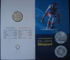 """MDS ÖSTERREICH 5 EURO 2005 HGH """"100 JAHRE SKISPORT"""" IM FOLDER, SILBER  #BOX A"""
