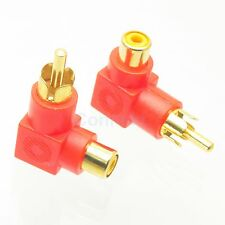 2pc Gold RCA Male Plug to RCA TV Female Jack Right Angle Audio Adapter RED Color