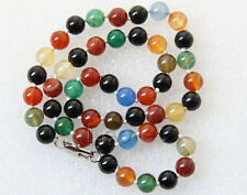 "18"" 8mm strand round gemstone MIX agate necklace W932A16E5"