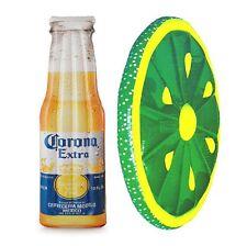 "Corona Beer Bottle 68.5"" x 22"" Inflatable Pool Float Mat + Lime Slice Float"