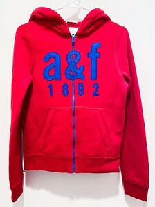 EUC Abercrombie & Fitch kids boys Red Zip up hooded sweatshirt Size XL