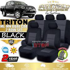 MITSUBISHI TRITON DUAL CAB ML-MN BLACK SEAT COVERS 2006-2015 GLS GL-R GLX GLX-R