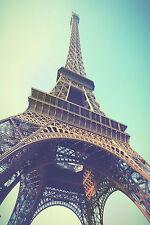 SUPERB Retro Vintage Paris Eiffel Tower Canvas #421 Quality Framed Art Picture