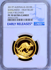 2017 Australia Kangaroo PROOF High Relief 1oz .9999 GOLD $100 NGC PF70 Coin ER