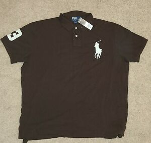 Ralph Lauren Polo brand - Custom Fit polo - Brown and Off-white, Size XXL