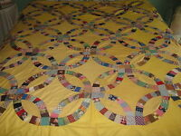"Vintage Hand Pieced Sewn DOUBLE WEDDING RING QUILT TOP 72""x76"" Yellow Background"