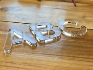 """Clear Acrylic Letters - 3/6"""" Clear Acrylic - Arial Round Font. Select A-Z"""