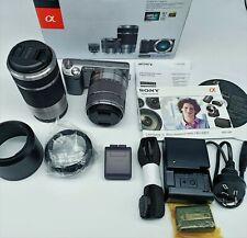 Sony α (alpha) NEX-5N 16.1 MP Digital Camera - Silver with 2 x lens