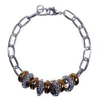 Swarovski Elements Crystal Beads Bracelet Rhodium Gold Plated Authentic 7143y