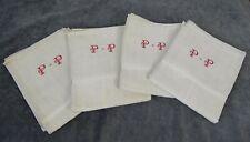 4 Antique French Tea Towel Torchons Linen Red Monogram PP