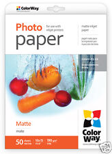 Top Quality ColorWay A6 Photo Paper Matte 190 gsm 50 Sheets New Free UK Delivery