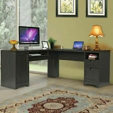 """Costway 66"""" L-shaped Computer Desk with Drawers - Coffee"""