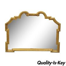 Vintage Gold Carved Wood Italian Hollywood Regency Wall Mirror 32 x 40 Console