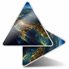 2 x Triangle Stickers 10 cm - Planet Earth Travel Globe Space  #24541