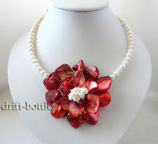 Handmade 70mm Red Shell Flower White Freshwater Pearl Necklace