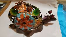 snail light flowers garden nightlight leaves beads copper animals red green WOW