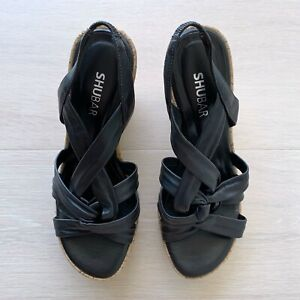 SHUBAR - DANI - WEDGE SANDALS - LEATHER - BLACK - SIZE 37 - HYPE DC EXCLUSIVE!
