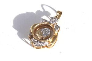 Interesting Vintage 18ct Yellow Gold Diamond Swivelling Pig Locket Pendant 32793