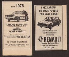 1975 RENAULT 12 Lot of 2 Vintage Original French canadian newspaper ads Quebec