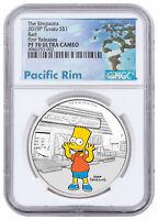 2019 P Tuvalu Simpsons Bart 1 oz Silver Colorized NGC PF70 UC FR SKU57908