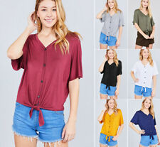 S-2X Women's Solid Tie Front Casual Soft Knit Dolman Loose Basic T-Shirt Top