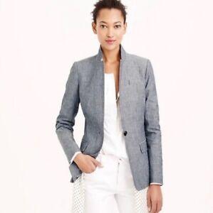NWot J.Crew Regent Blazer Jacket Chambray Blue Pocket 100% Cotton Women Sz.10