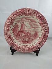 Royal Tudor Ware 10-inch Pink Serving Bowl Windmill