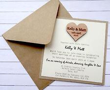 Rustic Kraft Wedding Invite with wooden heart & ribbed kraft Envelope