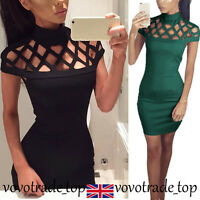 Ladies Gown Party Dress Womens Choker High Neck Caged Sleeves Bodycon Mini Dress