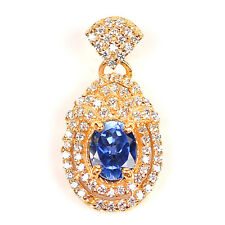 14KT Yellow Gold 2.15 Carat Natural Blue Tanzanite EGL Certified Diamond Pendant