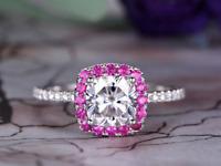 2ct Cushion Cut Diamond Engagement Ring Pink Sapphire Halo 14k White Gold Finish