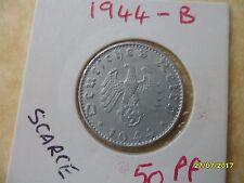 German 50 Reichspfennig 1944-B Third Reich Aluminium Coin WW2 pf
