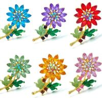 Colorful Crystal Rhinestone Flower Wedding Bouquet Brooch Pin Women Jewelry Gift