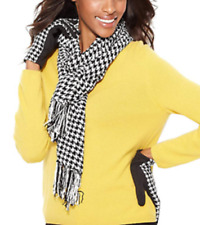 Charter Club Scarf Chenille Houndstooth Black & White NWT $48.00