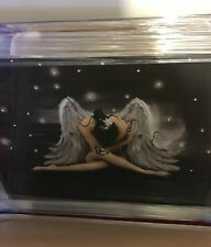 Angel with silver wings picture mirror framed liquid art 96cm x 76cm