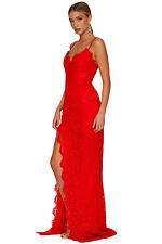 Abito lungo aperto Scollo Spacco Pizzo Cerimonia Party Maxi Evening Gown Dress S
